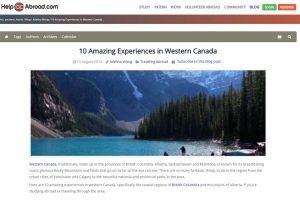 "Help Go Abroad – ""10 Amazing Experiences in Western Canada"""